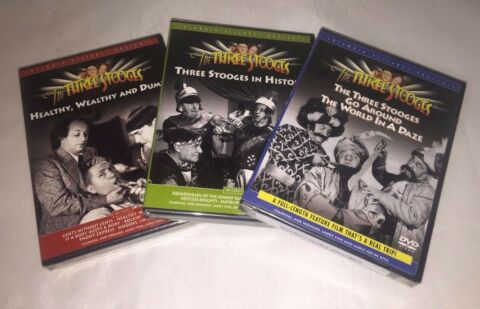 THE THREE STOOGES IN HISTORY GO AROUND WORLD IN A DAZE KOM DIE DVD LOT OF 3
