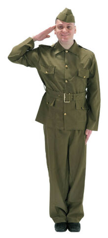 MENS DADS ARMY COSTUME 1940S BRITISH WWII SOLDIER ADULT MILITARY OUTFIT NEW L