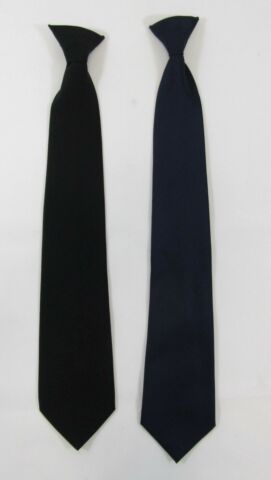 MENS ADULTS CLIP ON TIE SMART FORMAL FUNERAL BLACK NAVY SECURITY UNIFORM WORK