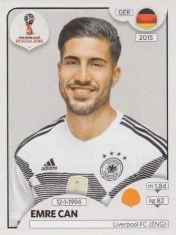 PANINI STICKER FU BALL WM 2018 RUSSIA NR 442 EMRE CAN GER GERMANY BILD NEU