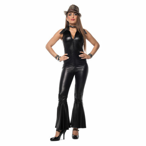 DAMEN KOST M CATSUIT SCHWARZ DISCO HIPPIE FLOWER POWER