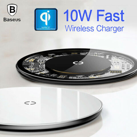 10W QI FAST WIRELESS CHARGER TEMPER GLASS PAD FOR IPHONE XS MAX X SAMSUNG S9 JAM
