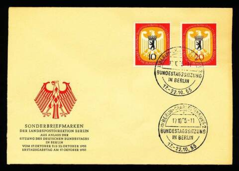178412 BERLIN FDC NR 129 130 DT BUNDESTAG IN BERLIN