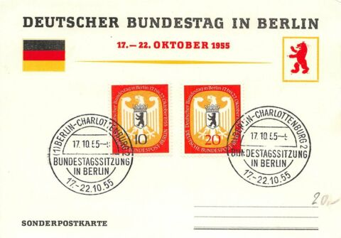 299227 BERLIN FDC SOKA NR 129 130 DT BUNDESTAG IN BERLIN