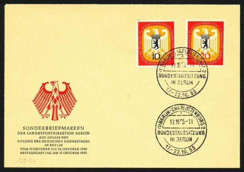 302376 BERLIN FDC NR 129 130 DT BUNDESTAG IN BERLIN