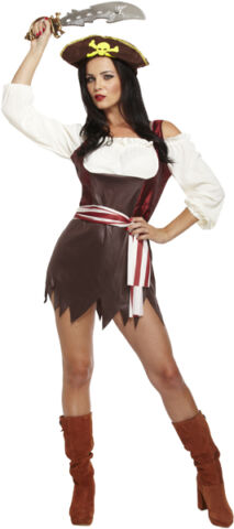LADIES BROWN PIRATESS PIRATE FANCY DRESS COSTUME OUTFIT SIZE 12 14 P7973