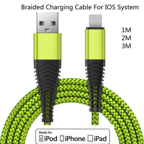 BRAIDED USB DATA CHARGING CABLE FOR IPHONE 5 5S SE 6 7 8 PLUS X XS MAX XR IPAD