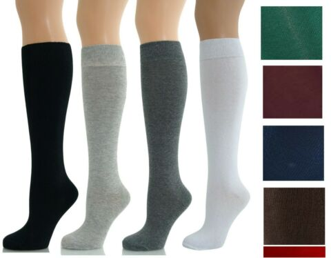 LADIES GIRLS KNEE HIGH UNDER THE KNEE SCHOOL UNIFORM PLAIN IN A LOT COTTON SOCKS