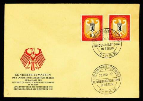 178413 BERLIN FDC NR 129 130 DT BUNDESTAG IN BERLIN