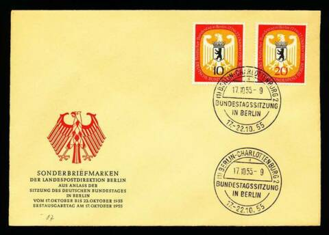 178415 BERLIN FDC NR 129 130 DT BUNDESTAG IN BERLIN