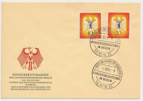617024 BERLIN FDC NR 129 130 DT BUNDESTAG IN BERLIN