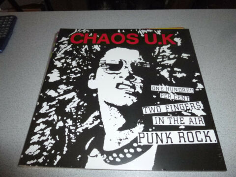 CHAOS U K ONE HUNDRED PER CENT TWO FINGERS IN THE AIR PUNK ROCK LP VINYL