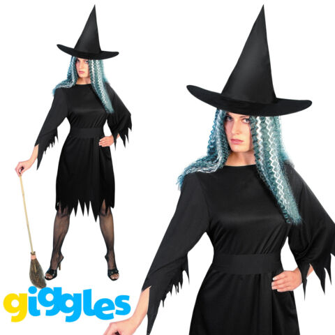 SPOOKY WITCH COSTUME WOMENS LADIES WITCHES HALLOWEEN HORROR FANCY DRESS OUTFIT