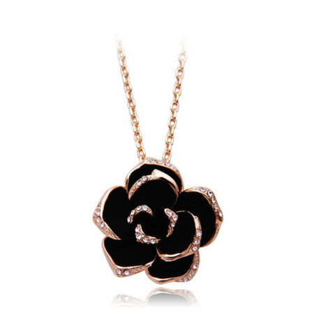 CLASSIC BLACK ROSE GOLD TONE PENDANT 18 K GOLD PLATED NECKLACE N176