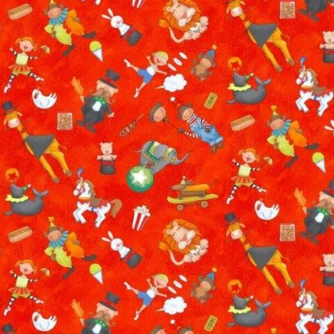 FAT QUARTER CIRCUS CIRCUS WHIMSICAL RED COTTON QUILTING FABRIC 50 X 55CM