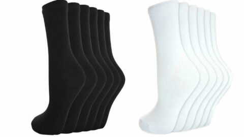 MENS WOMEN LADIES COTTON SOCKS EVERYDAY UNIFORM SCHOOL CASUAL BLACK WHITE SOCKS