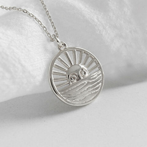 925 STERLING SILVER SUNRISE ROMAN INSPIRED SUN COIN NECKLACE PENDANT