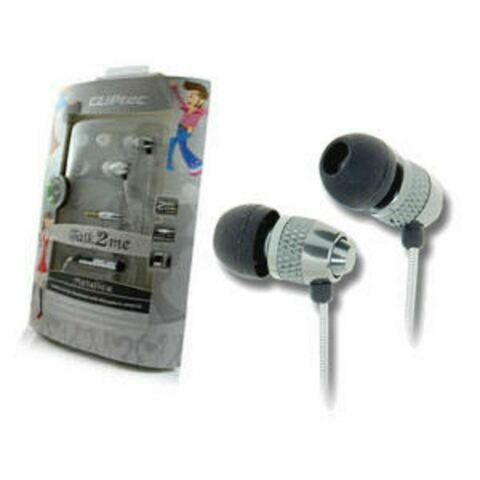CLIPTEC METALICA TALK2ME BME717 IN EAR HEADPHONES WITH CABLE WRAP SILVER