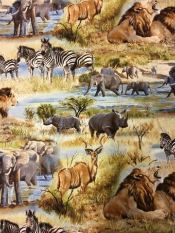FAT QUARTER AFRICAN SAVANHA COTTON QUILTING FABRIC RHINO LION ZEBRA ELEPHANT