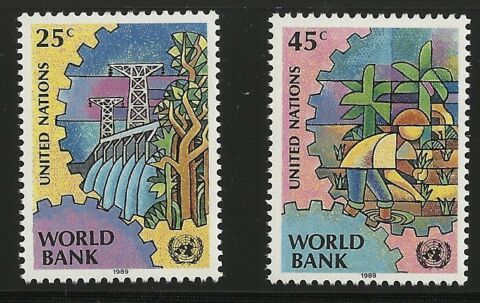 UNITED NATIONS SCOTT NY 546 47 SINGLES 1989 KOMPLETTES SET FVF MNH