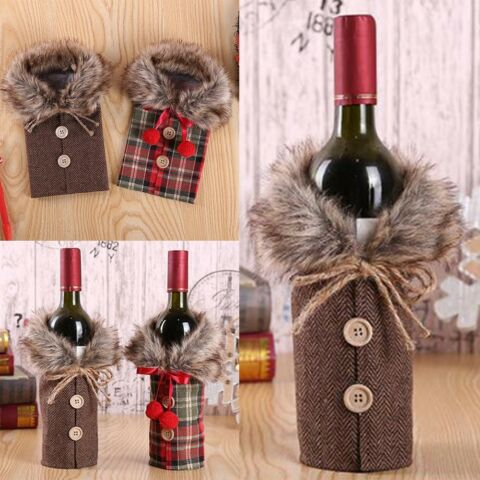 2X FANCY SANTA CLAUS OUTFIT CHRISTMAS WINE BOTTLE BAG COVER XMAS TABLE DECOR LG
