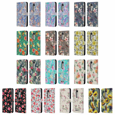 OFFICIAL MICKLYN LE FEUVRE FLORALS LEATHER BOOK CASE FOR MOTOROLA PHONES 2