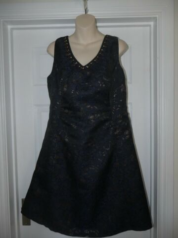 MONSOON EVENING DRESS SIZE 16 BLUE BLACK GOLD BEAD DETAIL LADIES PARTY OUTFIT