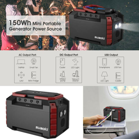 S270 POWER SOURCE STROMVERSORGUNG SOLARGENERATOR PANNEL 4 USB AC DC USB 150WH DE