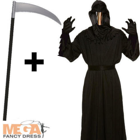 DEATH GRIM REAPER ROBE SCYTHE MENS FANCY DRESS ADULTS HALLOWEEN COSTUME OUTFIT