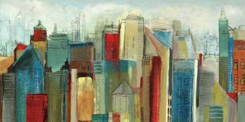 TOM REEVES SUNLIGHT CITY KEILRAHMEN BILD LEINWAND ST DTE SKYLINE URBAN ABSTRAKT