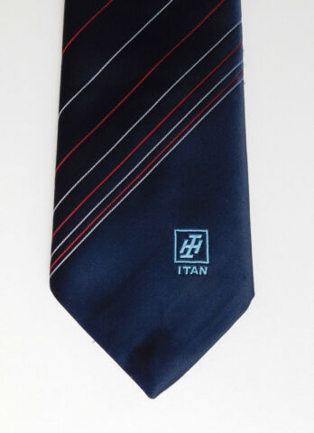 ITAN LOGO TIE SMART DARK BLUE STRIPED CORPORATE COMPANY UNIFORM INTERLOGO