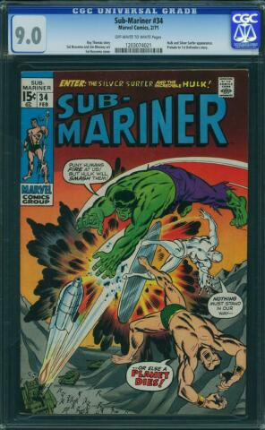 SUB MARINER 34 US MARVEL 1971 PRELUDE TO 1ST DEFENDERS CGC 9 0 VFN NM