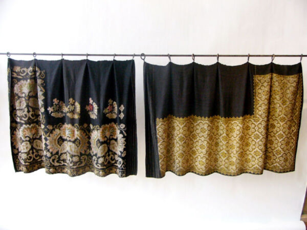 Metal & Silk Embroidered Eurasian Wrap Skirts  Girdles