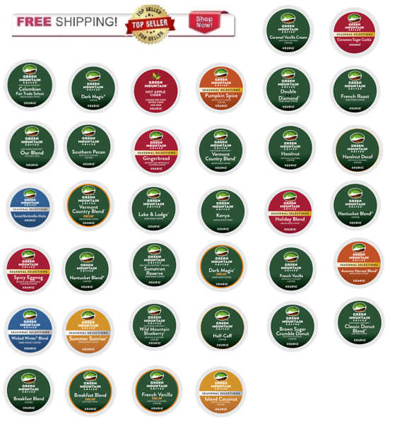 FRESH Green Mountain Keurig K-cups Coffee PICK THE FLAVOR & SIZE Ships FREE