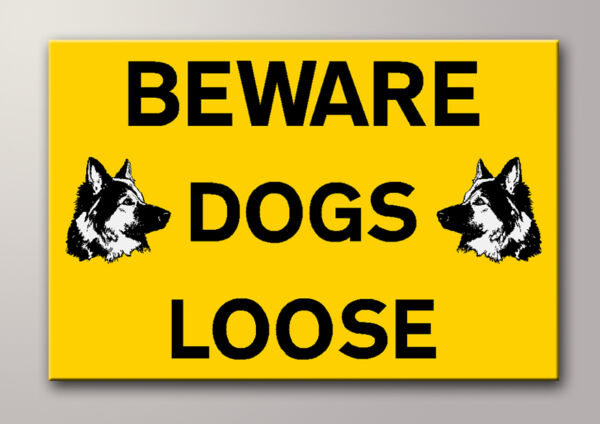1 BEWARE DOGS LOOSE RIGID SIGN 300mm x 200mm A4 GBP 4.44