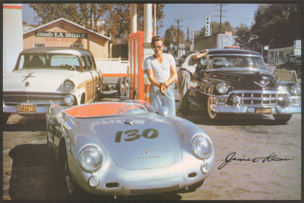 POSTER :ACTOR : JAMES DEAN - AT GAS STATION WITH 1955 PORSCHE - FREE SHIP LC30 Q