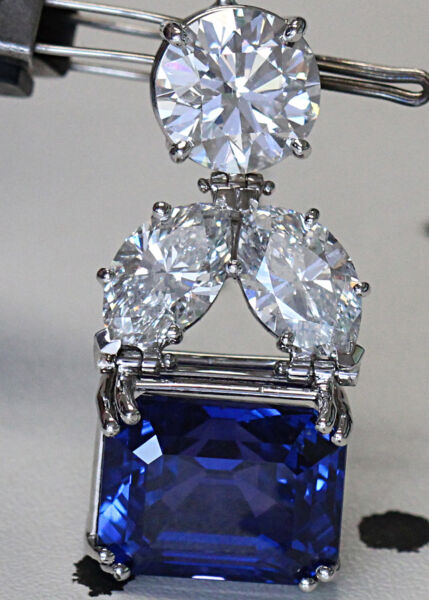 20 Carat Natural Color Change Blue Sapphire and Diamond Pendant Custom GIA BIG