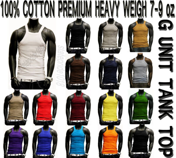 G Unit Style heavy weigh Tank Top Square Cut Wife Beater by THE BASIX 123PACK $11.95