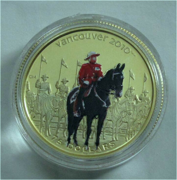 CANADA 2010 VANCOUVER OLYMPICS $75 DOLLARS GOLD COIN COLOR RCMP #15778000
