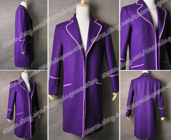 Charlie And The Chocolate Factory Willy Wonka Cosplay Costume Purple Trench Coat