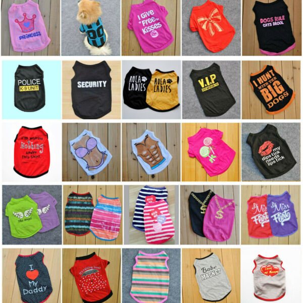 Various Pet Puppy Small Dog Cat Pet Clothes Dress Vest T Shirt Apparel Clothes $2.79