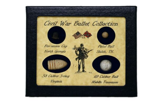Original Civil War Bullets Relics in Matted Display Case 4 Piece with COA