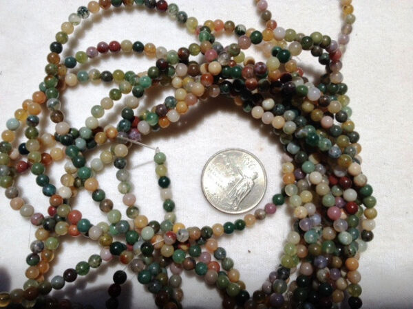 TWO 2 16quot; Strands GORGEOUS Natural FANCY JASPER Beads 4mm So Colorful $8.46