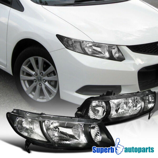 For 2006 2011 Honda Civic Coupe 2Dr Headlights Black Head Lamps Pair Replacement
