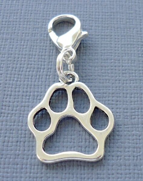 Dangle Dog Paw print Clip On Charm with Lobster Clasp Fit for Link Chain C166 $2.99