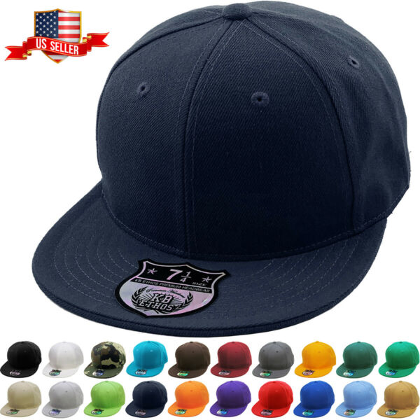 Premium Solid Fitted Cap Baseball Cap Hat Flat Bill  Brim NEW