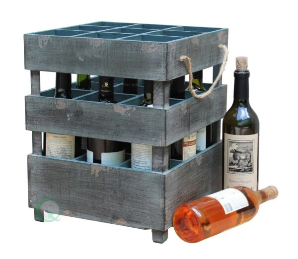 New vintiquewise Antique Style Stackable Wooden Wine Crates QI003069A