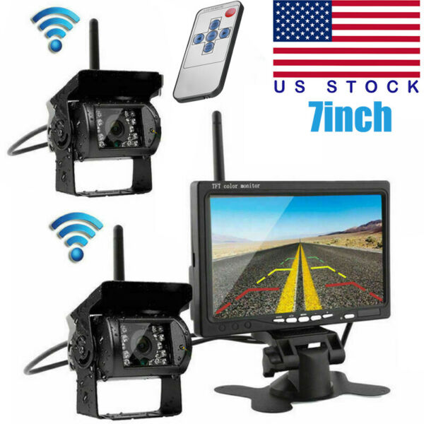 7quot; Wireless Backup Rear View Camera System Monitor Night Vision For RV Truck Bus