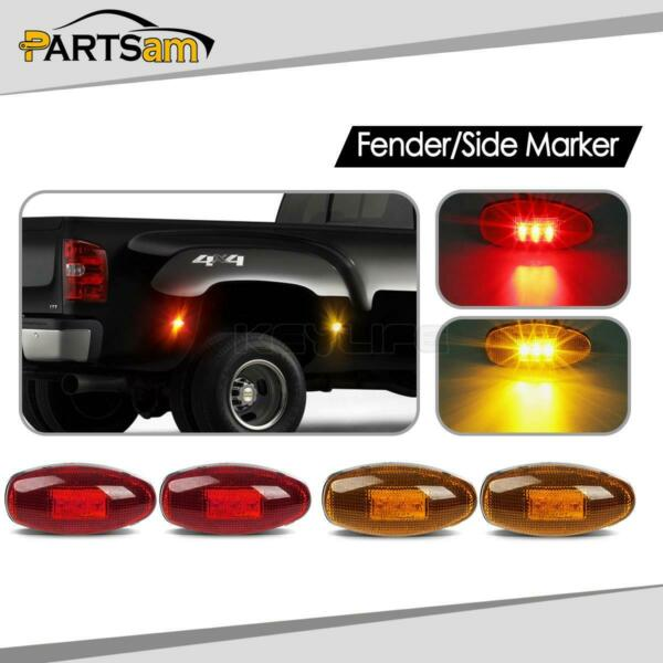 4x For CHEVY GMC 99-12 LED Front & Rear Dually Bed LED Side Fender Marker Lights