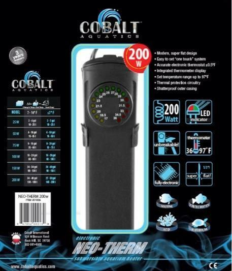 COBALT NEO-THERM SUBMERSIBLE AQUARIUM HEATER (PICK YOUR SIZE) 25W TO 400W